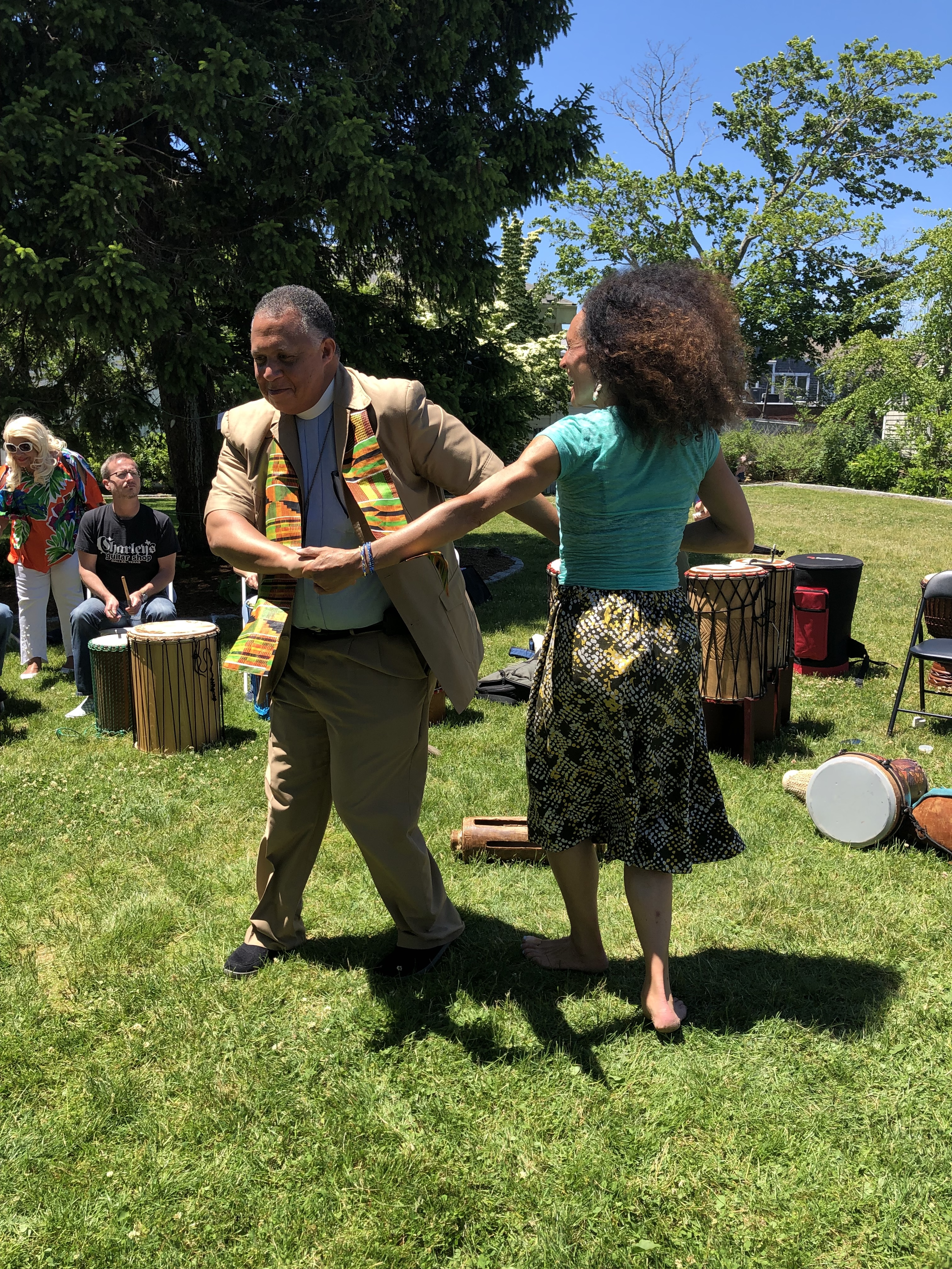 Rev. Will Mebane of St. Barnabas with Tara Murphy of Cape Cod African Dance and Drum during the 2019 Juneteenth Celebration.